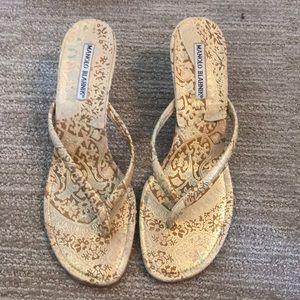 Manolo Blahnik thong kitten heel sandal